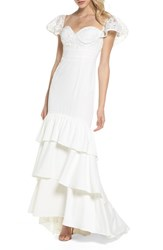 Jarlo 'S Aldis Lace And Ruffle Mermaid Gown Ivory