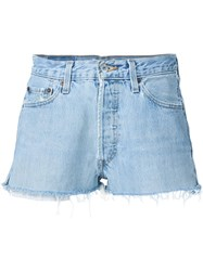 Re Done Mid Rise Denim Blue Shorts