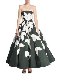 Oscar De La Renta Strapless Full Skirt Evening Gown With Floral Appliques Green White