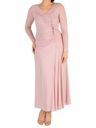 Chesca Ruched Bead Trim Dress Powder Pink