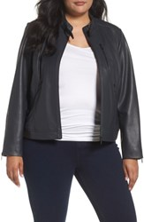 Bernardo Plus Size Women's Jetta Knit Detail Leather Scuba Jacket Black