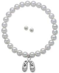Macy's Children's Cultured Freshwater Pearl 3 1 2 4Mm Ballerina Slipper Stretch Bracelet And Matching Stud Earrings In Sterling Silver