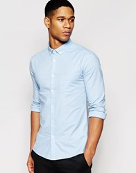 Asos Skinny Oxford Shirt In Blue With Long Sleeves Blue