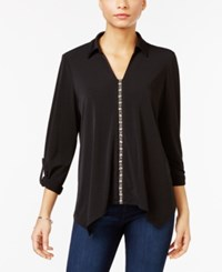 Ny Collection Petite Embellished Shirt Black