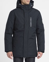 Knowledge Cotton Apparel Insulated Parka. Navy Breathable Waterproof Hooded Parka Blue