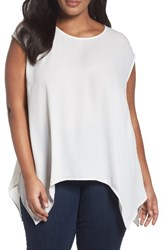 Sejour Plus Size Women's High Low Tee Ivory Cloud