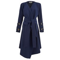 Lavish Alice Women's Oversized Collar Eyelet Sleeve Tailored Coat Navy