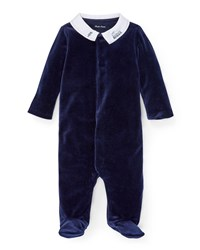 Ralph Lauren Train Embroidery Velvet Footie Pajamas Navy