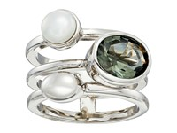 Cole Haan Oval Stone Round Fwp 3 Row Ring Rhodium Black Diamond Crystal Cream Fresh Water Pearl Ring Silver