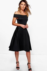 Boohoo Off The Shoulder Midi Skater Dress Black