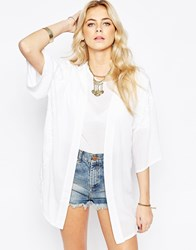 Neon Rose Boho Kimono With Floral Embroidery White