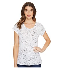 Michael Stars Floral Print Short Sleeve Crew Neck Tee White Women's T Shirt