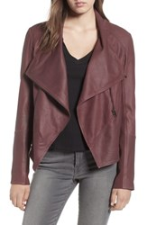 Lamarque Asymmetrical Zip Front Leather Cascade Jacket Wine