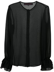 Martin Grant Ruffle Sleeve Shirt Women Silk 34 Black