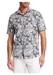 Saks Fifth Avenue Collection Abstract Floral Woven Cotton Button Down Shirt Black White