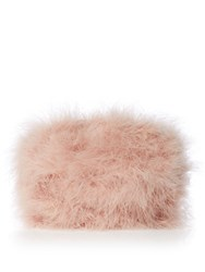 Issa Marabou Feather Clutch Pink