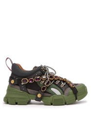 Gucci Flashtrek Crystal Embellished Low Top Trainers Black Green