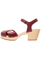 Swedish Hasbeens Mirja Clogs Wine Red Dark Red