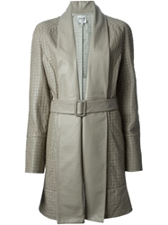 Armani Collezioni Belted Lambskin Coat Nude And Neutrals