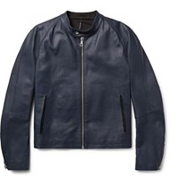 Helbers Leather Cafe Racer Jacket Navy