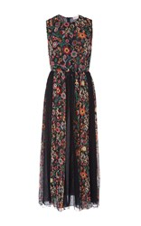 Red Valentino Fancy Flower Silk Crepe Dress Black