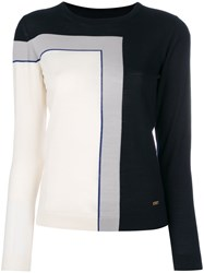 Salvatore Ferragamo Geometric Colour Block Jumper Women Virgin Wool M White
