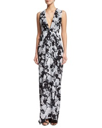 Thakoon Sleeveless Plunging Floral Print Gown Black White