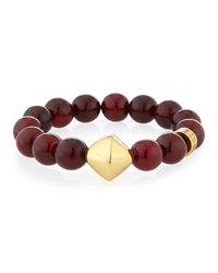 Red Horn Stretch Bracelet With Stations Nest Jewelry