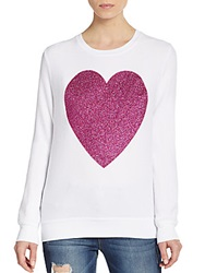 Wildfox Couture Sparkle Heart Sweatshirt Clean White