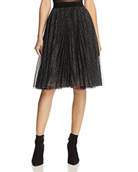 Molly Bracken Metallic Pleated Skirt Black