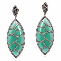 Meghna Jewels Bora Bora Earrings Green Onyx And Diamonds