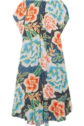 Mara Hoffman Arcadia Off The Shoulder Printed Plisse Crepe Maxi Dress Azure