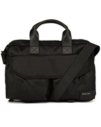 Diesel Black Close Brief Flap Pockets Nylon Messenger Bag