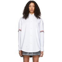 Thom Browne White Armband Supersized Cropped Shirt