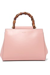 Gucci Nymphaea Bamboo Small Leather Tote Pink
