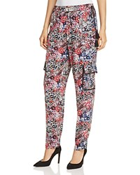 T Tahari Molly Floral Cargo Pants Black Multi