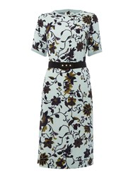Noa Noa Dress With Short Sleeve And Retro Flower Pattern Turquoise