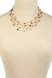 Candela 18K Yellow Gold Plated Sterling Silver Multi Stone Five Strand Necklace