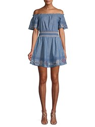Red Carter Melissa Smocked Chambray Mini Dress