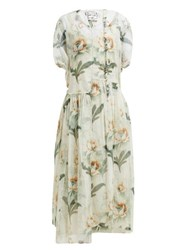 By Walid Aida Floral Print Cotton Tulle Midi Dress Ivory Multi