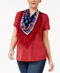 Style And Co Plus Size T Shirt With Fringe Scarf New Red Amore