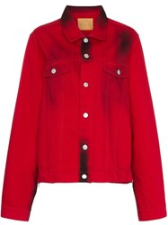 Martine Rose Stained Effect Cotton Denim Jacket Red