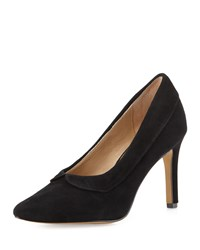 Neiman Marcus Nelson Scalloped Suede Pump Black