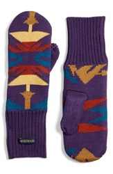 Pendleton Women's Fleece Lined Knit Wool Mittens Echo Peaks Purple