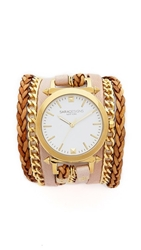 Sara Designs Leather And Chain Wrap Watch Pink Gold