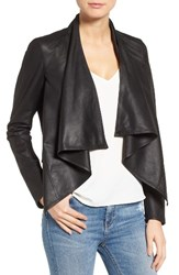Lamarque Women's 'Madison' Drape Front Suede Jacket Black