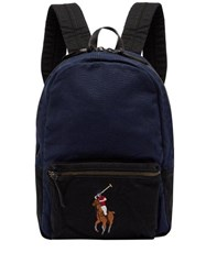Polo Ralph Lauren Logo Embroidered Canvas Backpack Navy