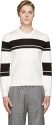 Kris Van Assche White And Black Striped Crewneck Sweater