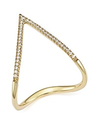 Bloomingdale's Diamond Pave Chevron Ring In 14K Yellow Gold .15 Ct. T.W. White Gold