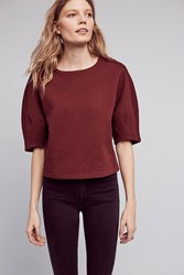 Anthropologie Donelle Cropped Pullover Wine
